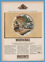 1963 Masonite Corporation Chicago IL Wetherall Exterior Building Panel Print Ad