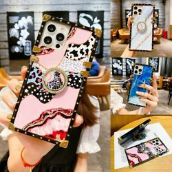 Cute Bling Marble Leopard Square Case w Ring For iPhone 13 12 11 Pro Max XS XR $10.99