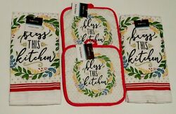 Kitchen Towel Set Bless This Kitchen Themed 4 Piece Set 2 Hot Pads amp; 2 Towels $9.73