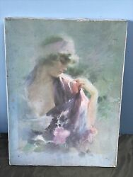 old oil on canvas painting Oriental Violet 16x12 $24.50