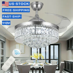 36quot;TS Silver Invisable Ceiling Fan Lamp LED Crystal Lighting Remote Chandeliers $119.99