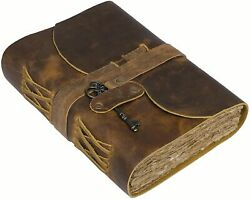 Handmade Rustic Leather Journal Notebook Bound Writing Diary Sketch Deckle Book $21.99