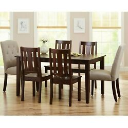 7 Piece Dining Room Kitchen Table And Chairs Set For 6 Modern Rectangle Wood $597.99