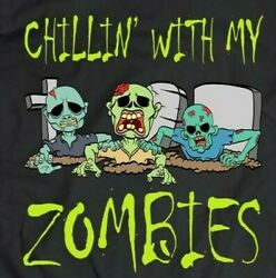 Chillin With My Zombies Halloween Boys Funny Unisex T Shirt S 5XL $14.99