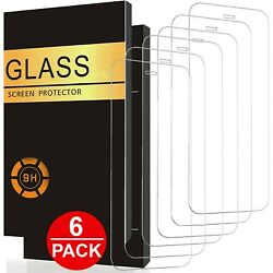 6 PACK For iPhone 13 Pro Max 12 11 XR X XS 8 7 6 Tempered GLASS Screen Protector $8.99