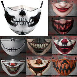 Halloween Horror Washable Reusable Face Mask 3D Printing Funny Protection Cover $5.99