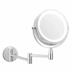 10X Magnifying LED Wall Mounted Makeup Mirror with Lights Wall Bathroom Mirrors $44.69