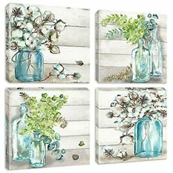 Rustic Flower Canvas Wall Art Painting Wood Texture Plants Print Pictures Art... $48.04