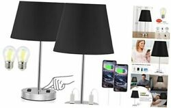 Set of 2 Small Table Lamps 3 Way Dimmable Touch Control 2Pack Black $72.89