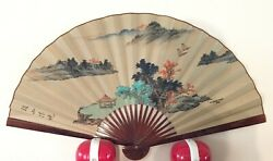 Vintage Large Chinese Paper Fan Painting and Calligraphy with Box $18.00
