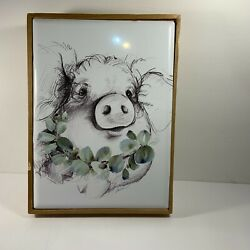 Pig Wall Decor Metal Wood Frame Hobby Lobby 10 1 2quot; x 7 3 4quot; Farmhouse New $11.99