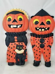 Halloween Shiny Brite Pumpkin Kids Wall plaques Set of 2 Old Stock Adorable $149.99