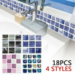 18pcs Tile Wall Stickers For Kitchen Bathroom Waterproof Decoration Home Durable $11.15