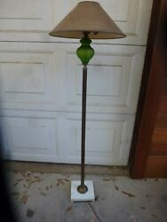 Antique Floor Lamp Green Glass Marble Base No Shade $149.95