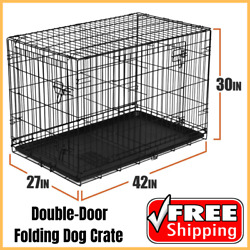 Heavy Duty Double Door 42quot; Folding Dog Crate Large Pet Cage With Divider Black $60.84