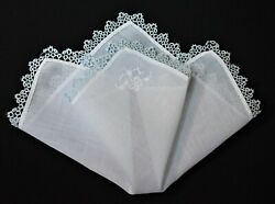 vintage handkerchief SHABBY HOME CHIC hankie BLUE HAND TATTING scent it to carry $8.99
