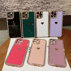 Cute Heart Bling Diamond Case Cover For iPhone 12 11 13 Pro Max XS XR 7 8 Plus $9.99