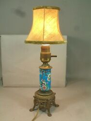 Vintage French Longwy Ceramic amp; Brass Table Lamp Vintage Shade Rewired LOOK $45.00