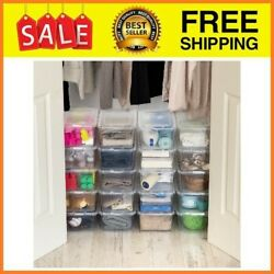 20 Pack Shoe Storage Boxes Plastic Bin with Lid Stackable Design Container Clear $29.18