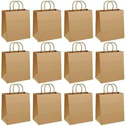 Kraft Paper Bags 8.3 x 6.3 x 3.1 Inch Gift Bags with Handles 12 Pcs for $12.69