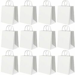 White Kraft Paper Bags 8.3 x 6.3 x 3.1 Inch Gift Bags with Handles 12 Pcs for $10.92