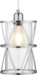 SHENGQINGTOP Modern Cylindrical Pendant Light with Clear Glass Brushed Nickel H $87.97