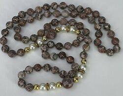 Leopard Skin Jasper Necklace Faux Pearl Gold Tone Spacers Gemstones Beaded 32quot; $29.95
