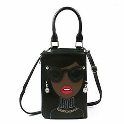 Kuang Women Novelty Lady Face Shoulder Bags Funky PU Leather Top Handle Black $33.39