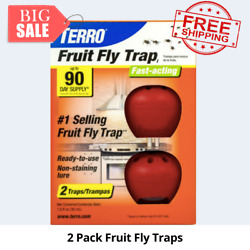 TERRO Fruit Fly Traps 2 Pack NEW Insect and Pest Traps Ready to Use Non Toxic $7.90