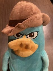 Phineas amp; Ferb Plush Perry the Platypus Disney Agent P Detective Brown Hat $24.99