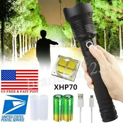 350000 Lumens Zoomable XHP70 LED USB Rechargeable Flashlight Focus Bright Torch $32.59