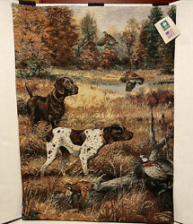 Manual Woodworkers and Weavers Tapestry Duck Hunting Shorthaired Dog 26x36 NEW $59.99