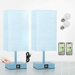 Blue Bedroom Lamps Set of 2pcs Small Touch Lamps with Dual USB Charging Ports... $72.40