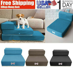 Dog Breathable Mesh Foldable Pet Stairs Detachable Pet Bed Stairs Ramp 2 Steps $22.88
