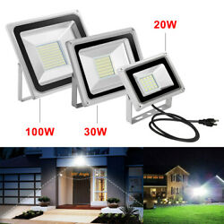 LED Flood Light Garden Workshop Outdoor Fixtures Bright White Lamp With Plug US