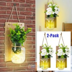 2x Rustic Wall Sconces Decoration Mason Jar 6 Hour Timer with LED Wall Hanging $31.79