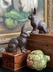 """Timeless Bronze Traditional English Rabbit Hare Bunny Mantle Table Pair 4.25"""" $137.00"""