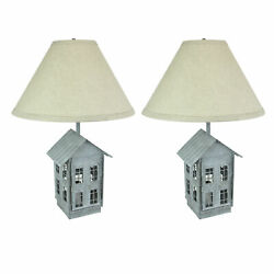 Set of 2 Rustic Zinc Dual Table Lamps And Accent Light Mid Century Modern $139.99