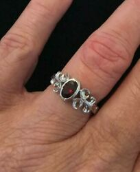QVC Sterling Silver Faceted Garnet Scrollwork Ring Size 6 $15.00