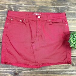 Lucky Brand Red Mini Jean Skirt Size 10 Stretchy Denim With Pockets $24.00