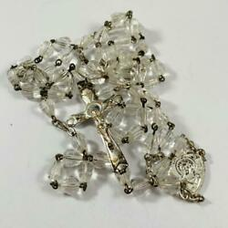 Vintage Glass Crystal Beaded Rosary Silver Tone Cross $18.99