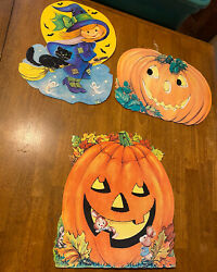 Lot Of 3 Vintage Die Cut Halloween Wall Decorations Decor Jack O Lanterns Witch $12.00