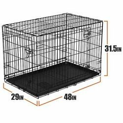 48quot; Dog Crate Kennel Folding Pet Cage Tray Metal Double Door Heavy Duty $68.95