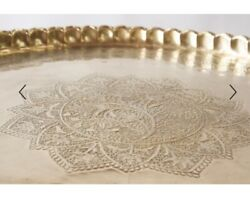 large moroccian round brass table On Folding Stand $3600.00