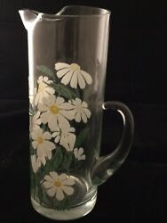 vintage glass pitcher with painted daises $14.50