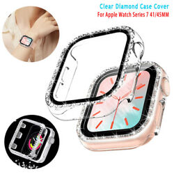 For Apple Watch Series 7 41 45MM Bling Diamond PC Protect Hard Bumper Case Cover $7.65