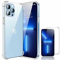 For iPhone 13 Pro Max 11 Pro 12 Mini Case Clear Crystal Cover Screen Protector $6.99
