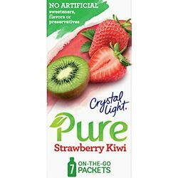 Crystal Light Pure Strawberry Kiwi Drink Mix 7 On the Go Packets $4.21