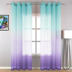 Lilac Turquoise Curtains for Bedroom Girls Room Decor 2 Panels Beautiful Eleg... $33.17