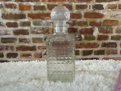 VINTAGE Crystal Clear Diamond Cut Pattern Square Whiskey Scotch Liquor Decanter $20.00